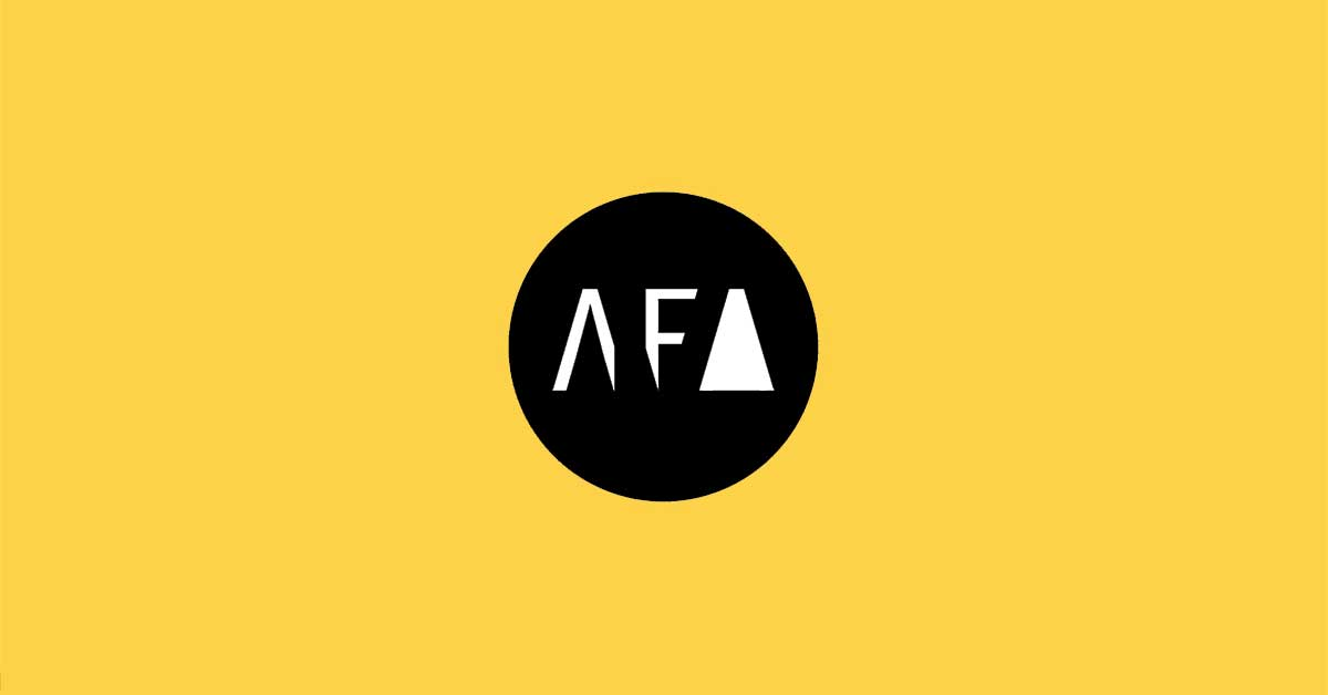 American Fine Arts Foundry Logo on Yellow Background designed by Bloom FActor Inc.
